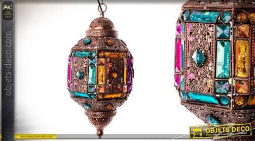 Lanterne suspendue électifiée de style oriental en métal style moucharabieh avec façades ornementées en acrylique imitation pierres précieuses facetté