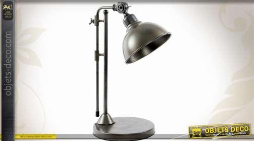 Lampe de bureau style luminaire d'atelier rétro en métal finition gris anthracite