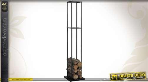Porte-bûches métallique en colonne de couleur noire.