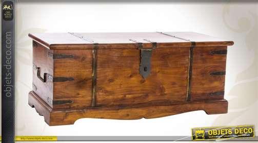 Coffre de style rétro en bois massif et métal