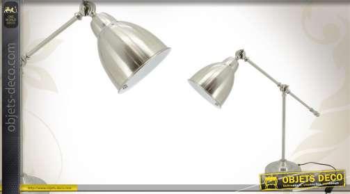 Lampe de burau réglable en acier brossé, coloris argent.