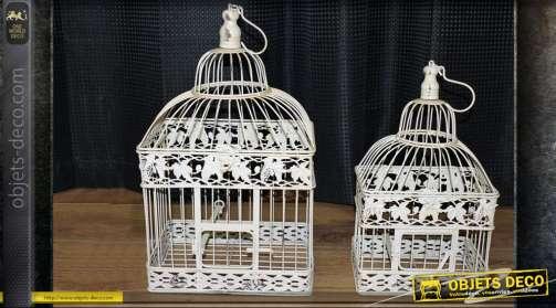 Deux cages à oiseaux carrées beige