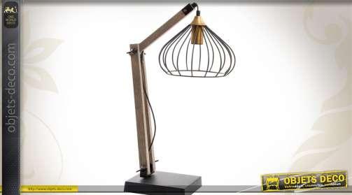 Lampe de style rétro façon lampe d'architecte en bois et métal style vintage