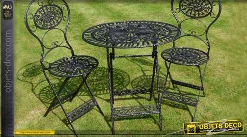 Salon de jardin en fer forgé 3 pièces noir