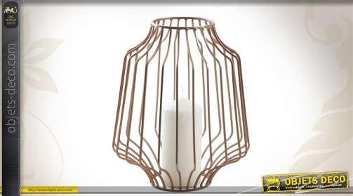 Photophore cage en métal finition cuivrée.