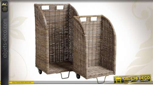 Ensemble de 2 chariots à bûches avec roulettes constitués en poelet gris.