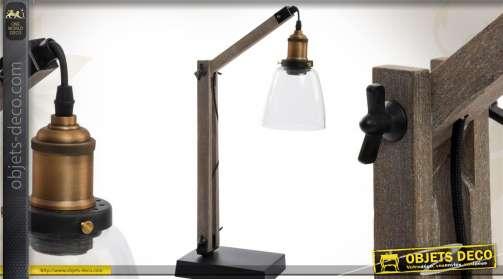 Lampe style rétro façon ancienne lampe d'atelier en bois, métal avec réflecteur en verre transparent
