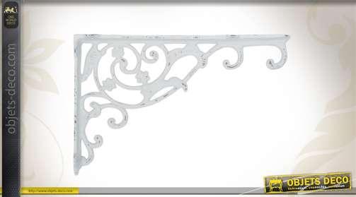 Support mural pour plante ou lanterne, en métal, coloris blanc.