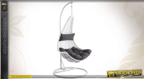 Balancelle en polyrésine avec pied en acier coloris blanc, hauteur réglable, coussins gris imperméabilisés.