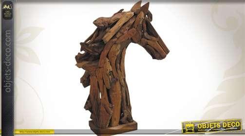 Scupture tête de cheval réalisée en teck recyclé, création stylisée et artistique