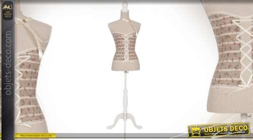 Buste mannequin en bois et tissu style romantique et rétro avec corset à rubans