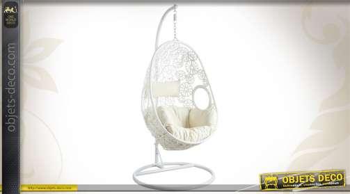 Balancelle de jardin en acier et résine, réglable, avec coussins d'assise et de dos, coloris blanc.