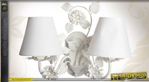 Applique murale à deux points lumineux en métal coloris blanc antique style romantique