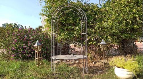 Banc de jardin de forme ovale avec arche de recouvrement coloris gris antique