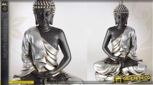 Grande statuette de bouddha avec finition argentée et vieillie
