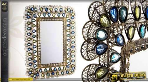 Miroir d'ornementation en métal ajouré avec ocelles multicolores