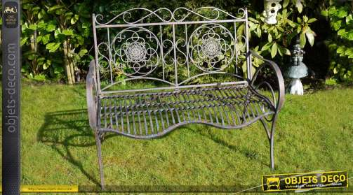 Banc de jardin en fer forgé et métal finition métal vieilli antique