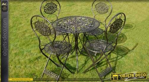 Grand salon de jardin pour 4 personnes. En fer forgé, coloris noir antique avec reflets dorés.