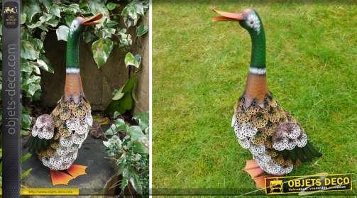 Statuette en métal d'un canard Colvert pour déco parcs et jardins