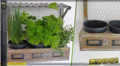 Jardinière murale en bois et métal style ferme d'autrefois