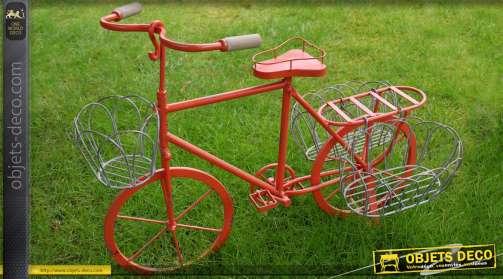 Grand vélo rouge en métal pour enfant avec 3 supports jardinières