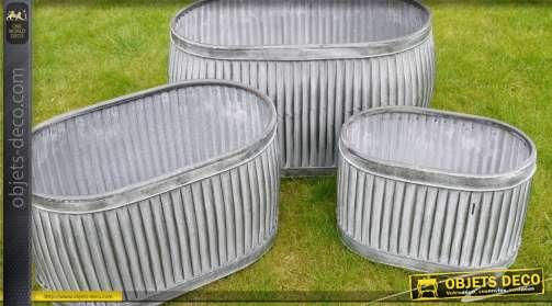 Ensemble de trois grands bacs ovales en acier galvanisé pour extérieur