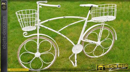Grande bicyclette porte-plantes coloris blanc antique en métal avec cordage