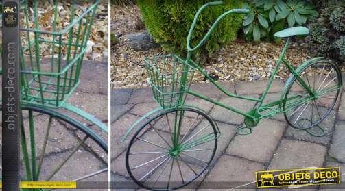 Vélo porte-plantes en métal coloris vert style rétro