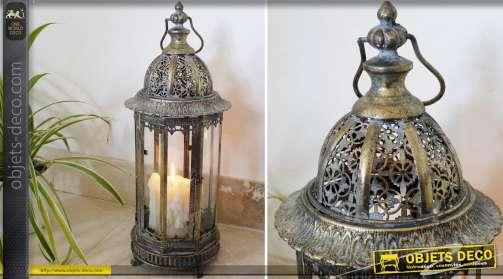 Lanterne de style orientale à 6 faces avec finition façon bronze antique