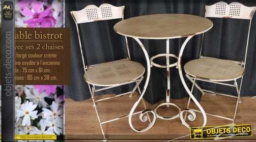 Table bistrot et 2 chaises en fer forgé
