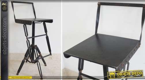 Tabouret de bar de style industriel design et rétro en métal noir