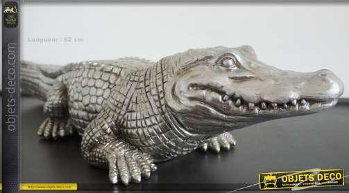Statuette animalière en résine : crocodile finition dorée