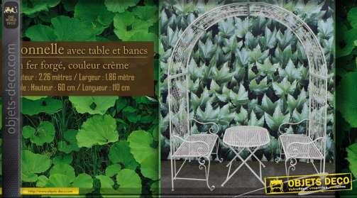 Arche avec bancs et table en fer forgé
