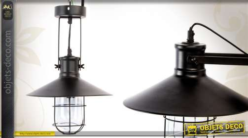 Lampe / applique en métal de style industriel avec réflecteur et grille de protection