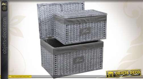 Duo de coffres de rangement réalisés en papier cordé et osier, coloris gris, avec doublures coton.