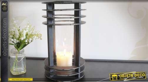 Lanterne en métal gris anthracite en verre et métal style rétro design
