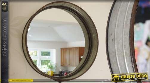 Miroir rond en métal galvanisé gris de style industriel Ø 40 cm