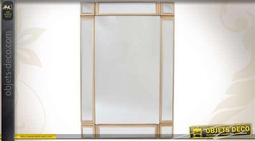 Miroir rectangulaire en bois finition dorée à parcloses 90 cm