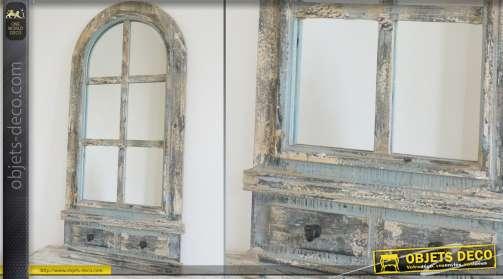 Miroir-fenêtre de style rustique et brocante finition vieillie, forme en arcade