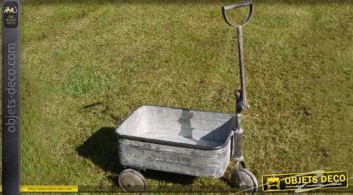 Chariot rétro en acier galvanisé coloris gris zinc ancien