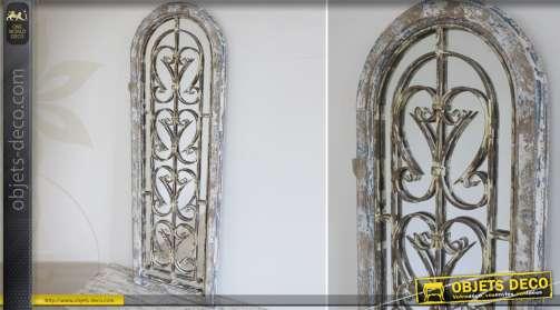 Miroir fenêtre en bois et métal façon fer forgé en arcade