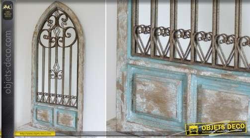 Grand miroir fenêtre en bois et métal style rétro et brocante forme ogive gothique