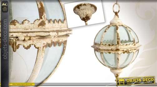 Petite lanterne sphérique de style rétro finition blanc antique