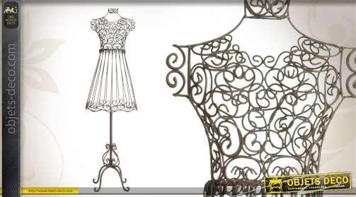 Mannequin décoratif réalisé en métal brun, design robe.