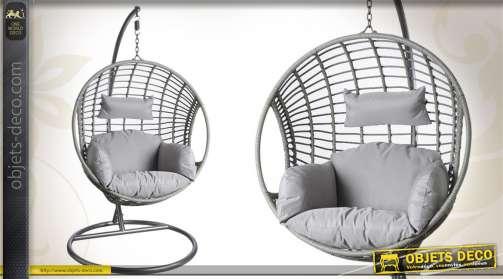 Balancelle oeuf réalisée en acier et polyrésine, réglable, avec coussins polyester imperméabilisés, coloris gris.