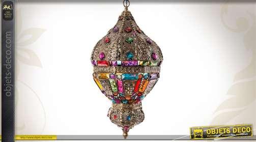 Suspension en métal de style oriental finition dorée à l'ancienne avec incrustation de brillants facettés multicolores