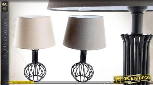 érie de 2 lampes de table en métal avec abat-jour assortis Ø 40 cm
