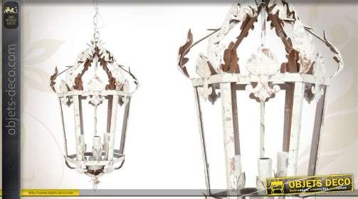 Suspension lanterne en métal et en verre, coloris blanc finition ancienne, 3 feux.