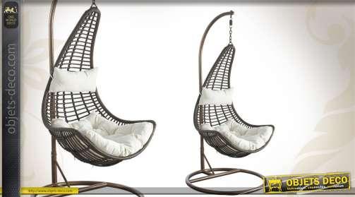 Balancelle contemporaine en aicer et polyrésine, hauteur réglable, avec coussins coloris blanc.