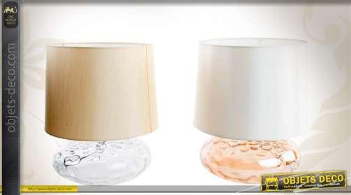 Série de 2 lampes de table avec pieds en verre et abat-jour 2 coloris.